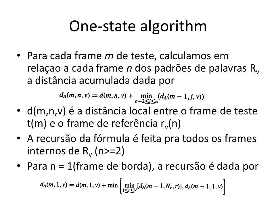 One-state algorithm Para cada frame m de teste, calculamos em relaçao a cada frame n dos padrões de palavras R v a distância acumulada dada por d(m,n,