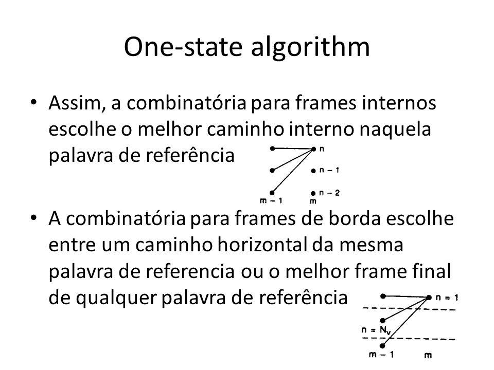 One-state algorithm Assim, a combinatória para frames internos escolhe o melhor caminho interno naquela palavra de referência A combinatória para fram