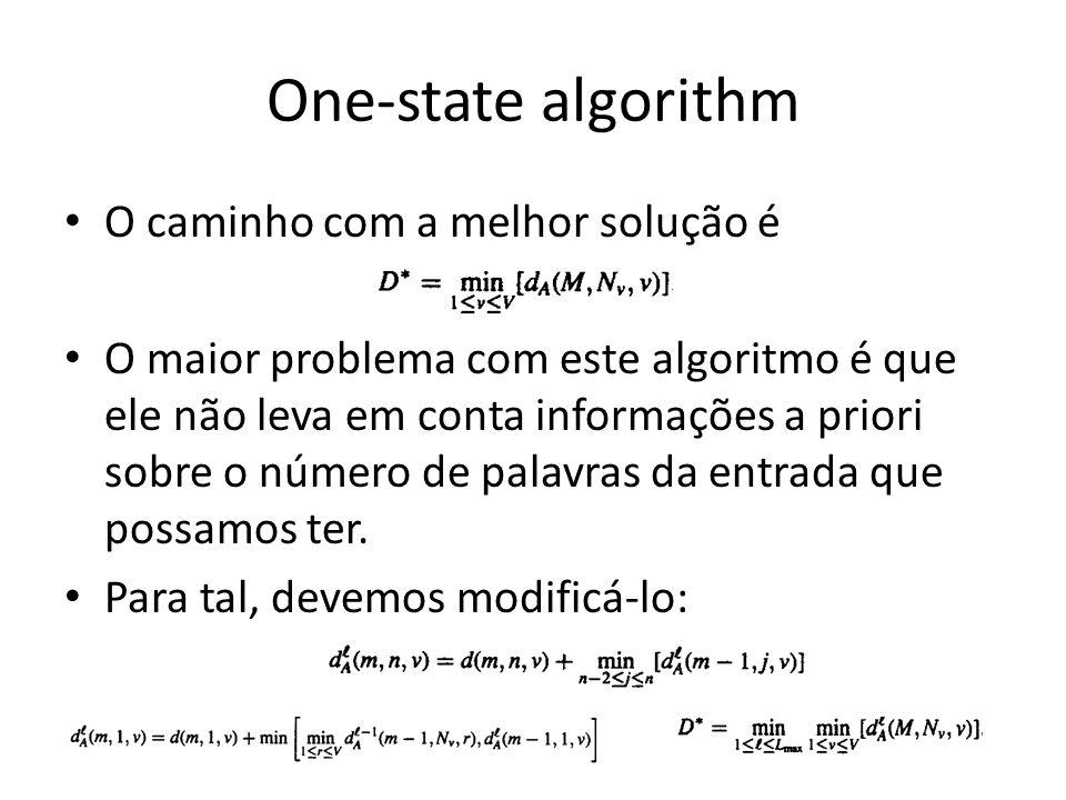One-state algorithm O caminho com a melhor solução é O maior problema com este algoritmo é que ele não leva em conta informações a priori sobre o núme