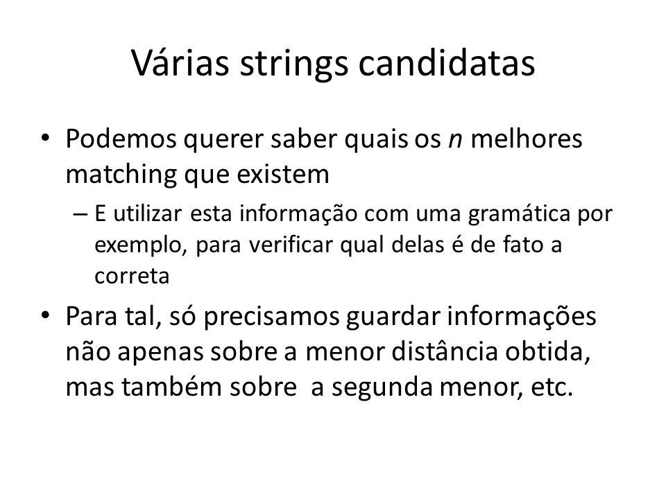 Várias strings candidatas Podemos querer saber quais os n melhores matching que existem – E utilizar esta informação com uma gramática por exemplo, pa
