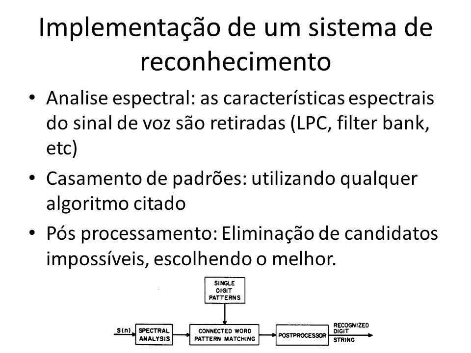 Implementação de um sistema de reconhecimento Analise espectral: as características espectrais do sinal de voz são retiradas (LPC, filter bank, etc) C