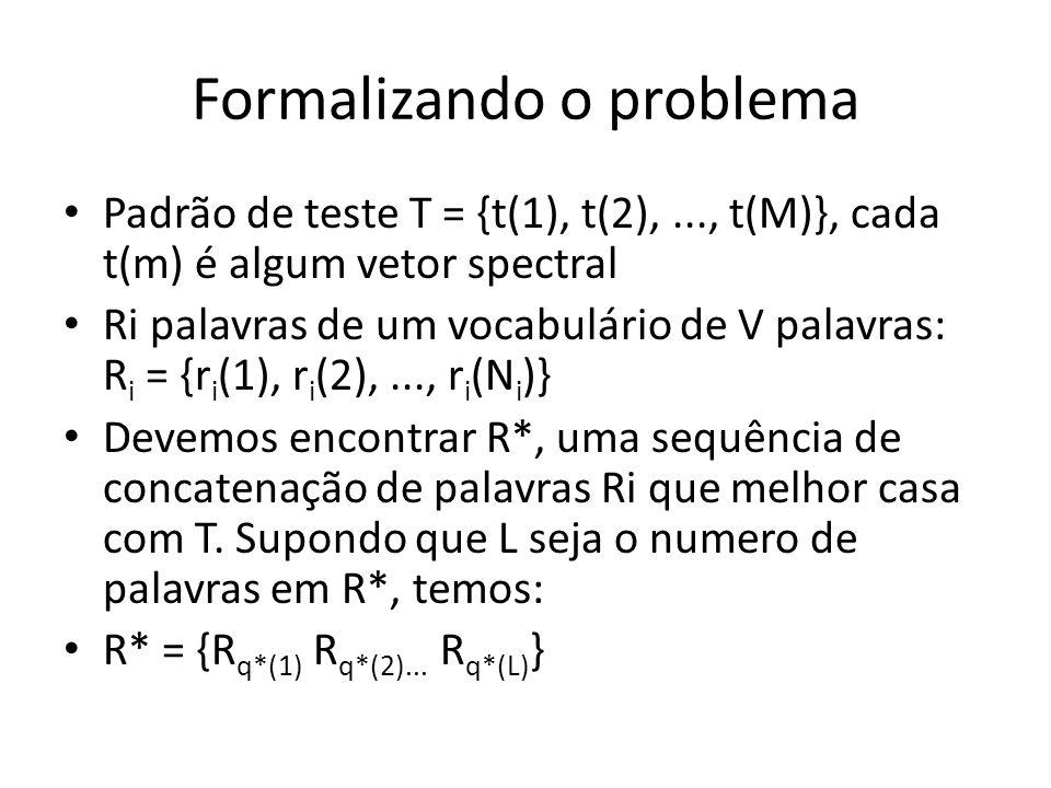 Formalizando o problema Para determinar R* (a melhor solução), vamos construir um R s arbitrário, da forma: R s = {r s (1), r s (2),..., r s (N s )}, onde N s é a sua duração total A distância entre R s e T dada pelo DTW é: Onde d(.,.) é uma distancia spectral local, w(.) é a função de warping