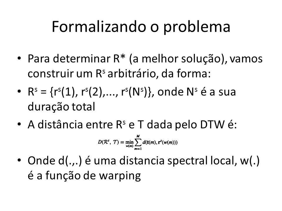 Formalizando o problema Para determinar R* (a melhor solução), vamos construir um R s arbitrário, da forma: R s = {r s (1), r s (2),..., r s (N s )},