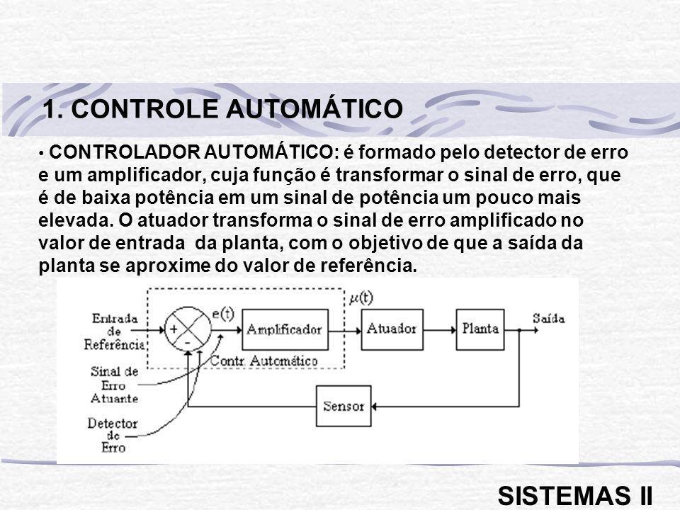 CONTROLADOR AUTOMÁTICO: é formado pelo detector de erro e um amplificador, cuja função é transformar o sinal de erro, que é de baixa potência em um si