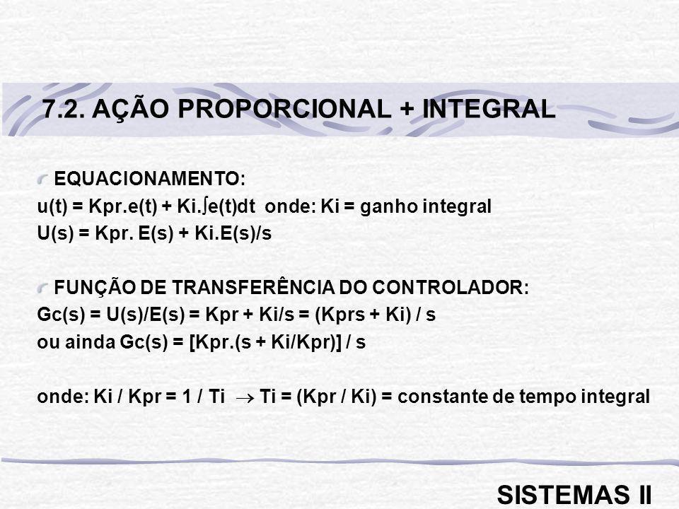 EQUACIONAMENTO: u(t) = Kpr.e(t) + Ki. e(t)dt onde: Ki = ganho integral U(s) = Kpr. E(s) + Ki.E(s)/s FUNÇÃO DE TRANSFERÊNCIA DO CONTROLADOR: Gc(s) = U(