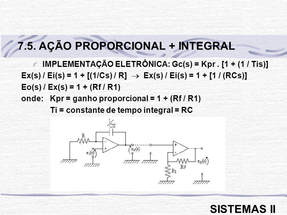 IMPLEMENTAÇÃO ELETRÔNICA: Gc(s) = Kpr. [1 + (1 / Tis)] Ex(s) / Ei(s) = 1 + [(1/Cs) / R] Ex(s) / Ei(s) = 1 + [1 / (RCs)] Eo(s) / Ex(s) = 1 + (Rf / R1)