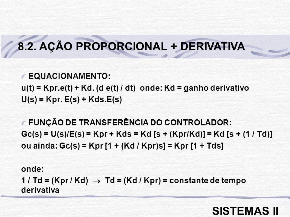 EQUACIONAMENTO: u(t) = Kpr.e(t) + Kd. (d e(t) / dt) onde: Kd = ganho derivativo U(s) = Kpr. E(s) + Kds.E(s) FUNÇÃO DE TRANSFERÊNCIA DO CONTROLADOR: Gc