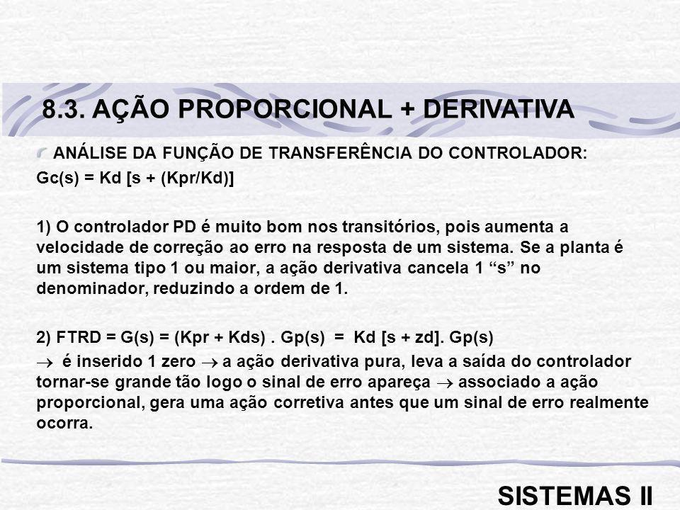 ANÁLISE DA FUNÇÃO DE TRANSFERÊNCIA DO CONTROLADOR: Gc(s) = Kd [s + (Kpr/Kd)] 1) O controlador PD é muito bom nos transitórios, pois aumenta a velocida