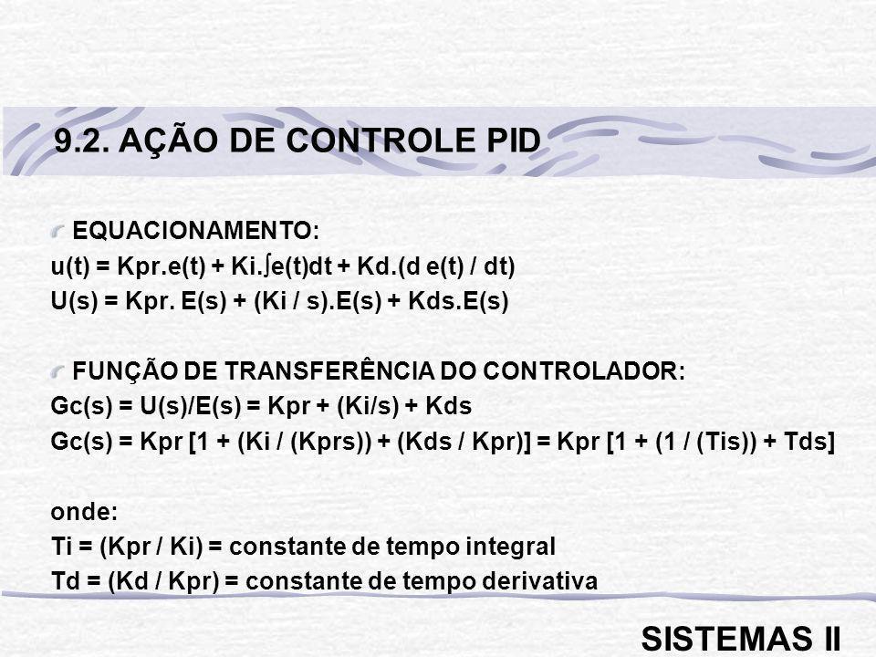 EQUACIONAMENTO: u(t) = Kpr.e(t) + Ki. e(t)dt + Kd.(d e(t) / dt) U(s) = Kpr. E(s) + (Ki / s).E(s) + Kds.E(s) FUNÇÃO DE TRANSFERÊNCIA DO CONTROLADOR: Gc