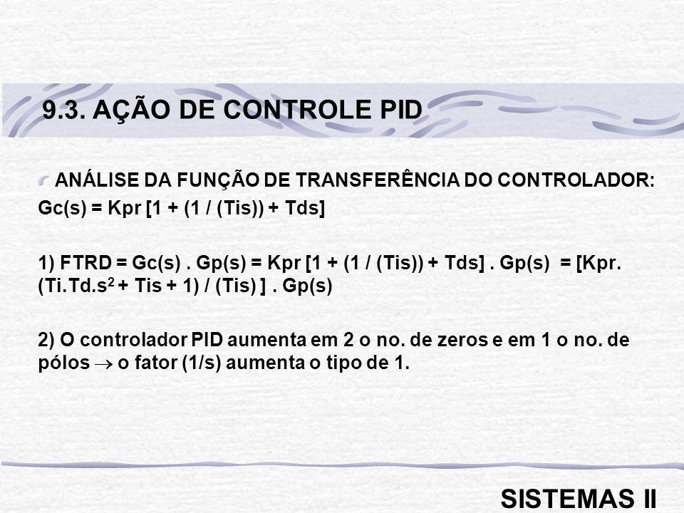 ANÁLISE DA FUNÇÃO DE TRANSFERÊNCIA DO CONTROLADOR: Gc(s) = Kpr [1 + (1 / (Tis)) + Tds] 1) FTRD = Gc(s). Gp(s) = Kpr [1 + (1 / (Tis)) + Tds]. Gp(s) = [