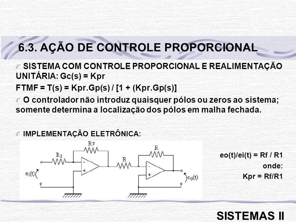 SISTEMA COM CONTROLE PROPORCIONAL E REALIMENTAÇÃO UNITÁRIA: Gc(s) = Kpr FTMF = T(s) = Kpr.Gp(s) / [1 + (Kpr.Gp(s)] O controlador não introduz quaisque