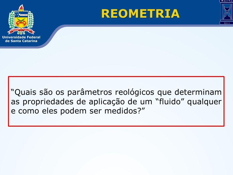 Quais são os parâmetros reológicos que determinam as propriedades de aplicação de um fluido qualquer e como eles podem ser medidos? REOMETRIA
