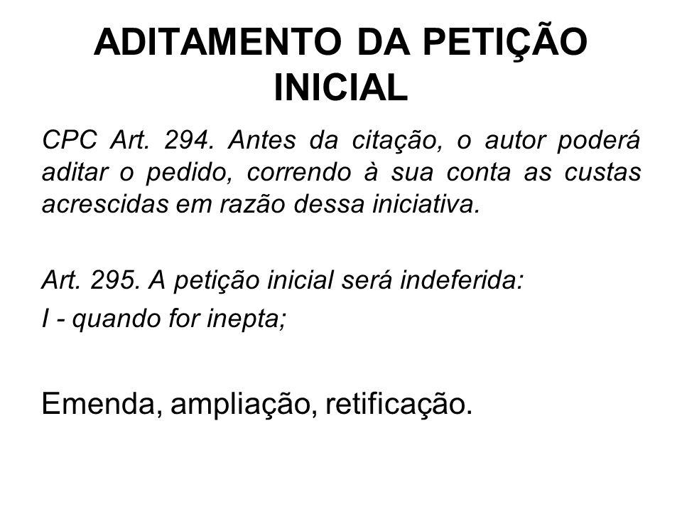 ADITAMENTO DA PETIÇÃO INICIAL CPC Art. 294. Antes da citação, o autor poderá aditar o pedido, correndo à sua conta as custas acrescidas em razão dessa