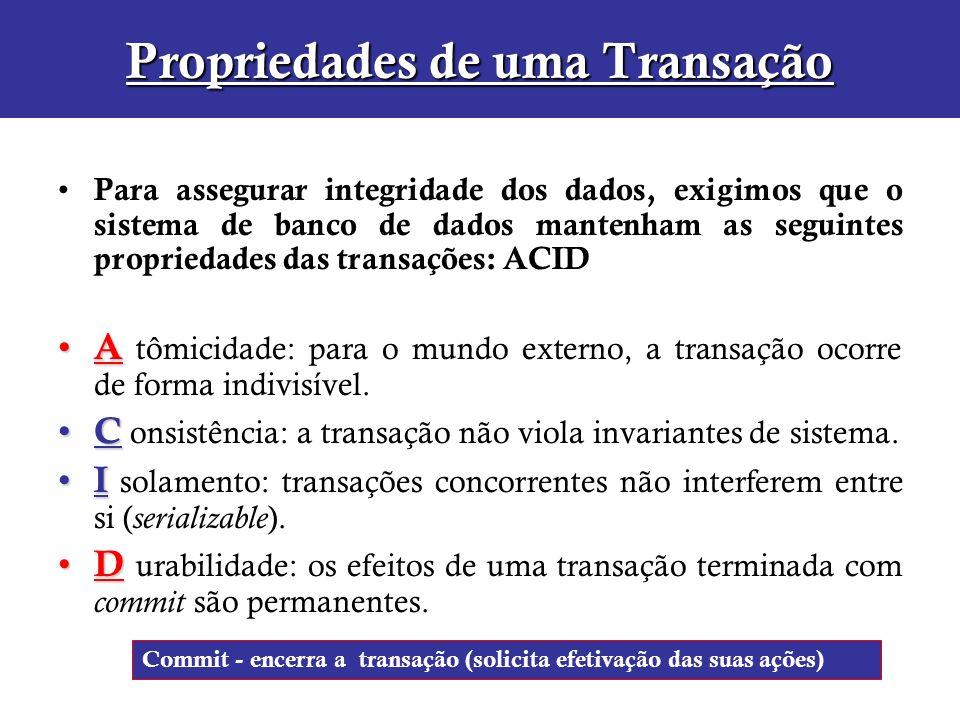 Propriedades de uma Transação Para assegurar integridade dos dados, exigimos que o sistema de banco de dados mantenham as seguintes propriedades das t