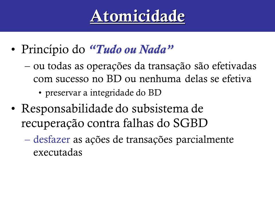 Atomicidade Tudo ou NadaPrincípio do Tudo ou Nada –ou todas as operações da transação são efetivadas com sucesso no BD ou nenhuma delas se efetiva pre