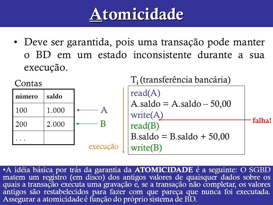 Atomicidade Deve ser garantida, pois uma transação pode manter o BD em um estado inconsistente durante a sua execução. read(A) A.saldo = A.saldo – 50,