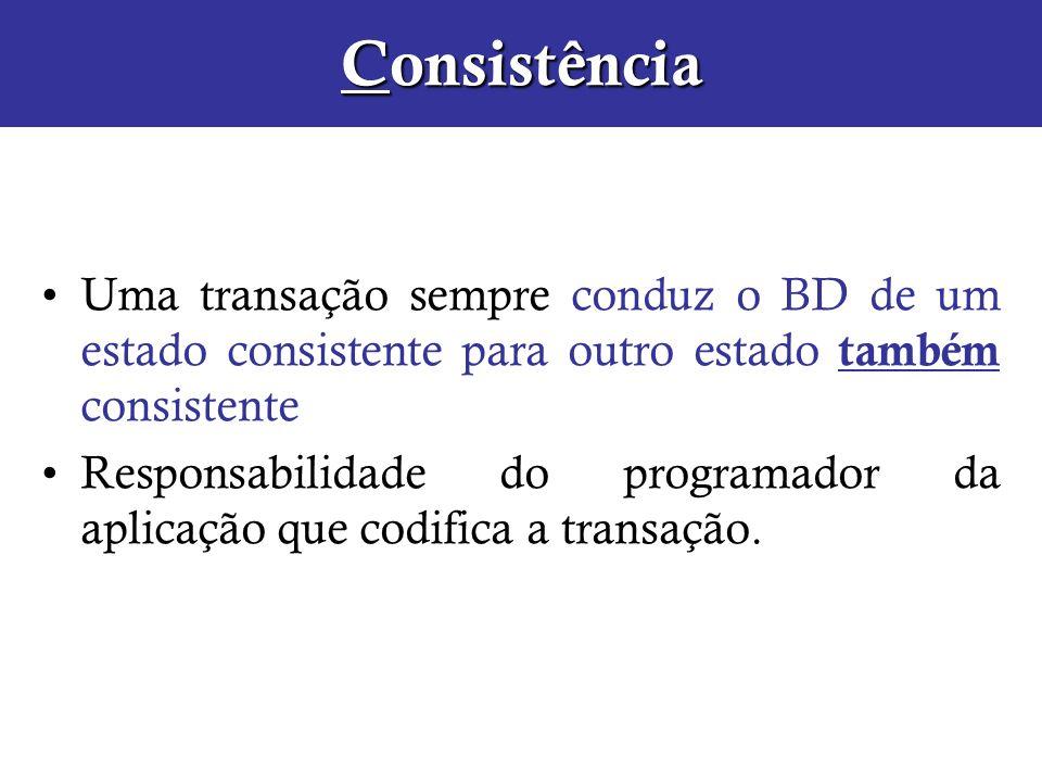 Consistência Uma transação sempre conduz o BD de um estado consistente para outro estado também consistente Responsabilidade do programador da aplicaç
