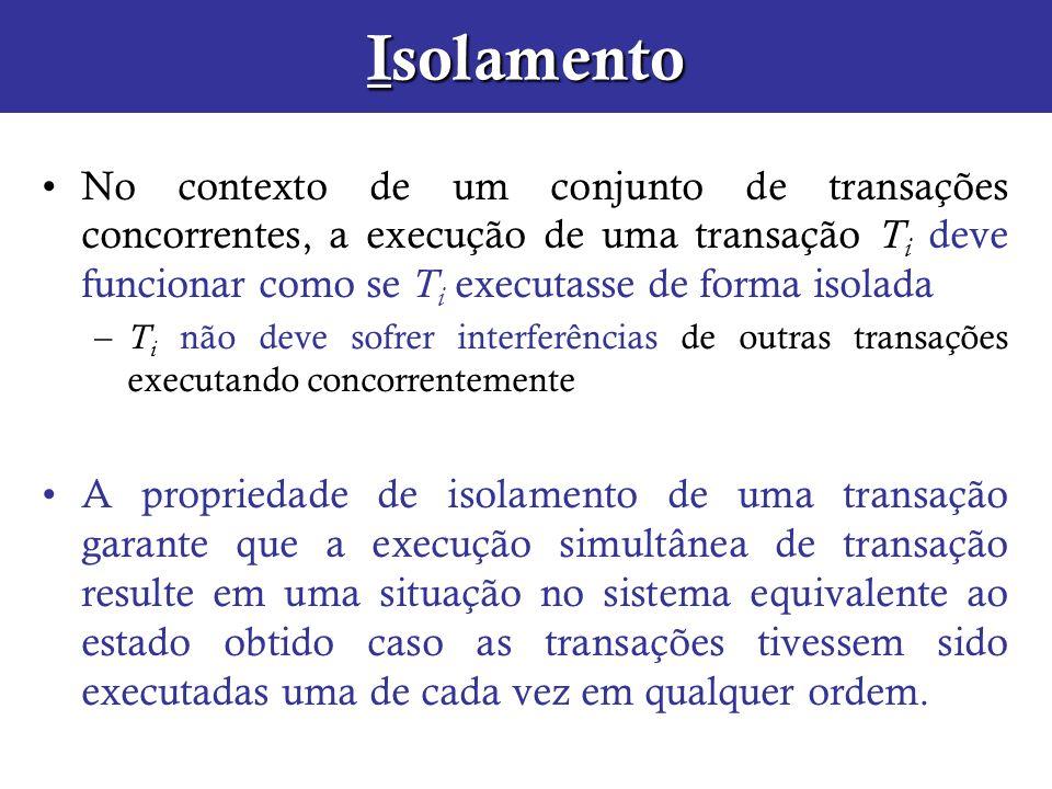 Isolamento No contexto de um conjunto de transações concorrentes, a execução de uma transação T i deve funcionar como se T i executasse de forma isola