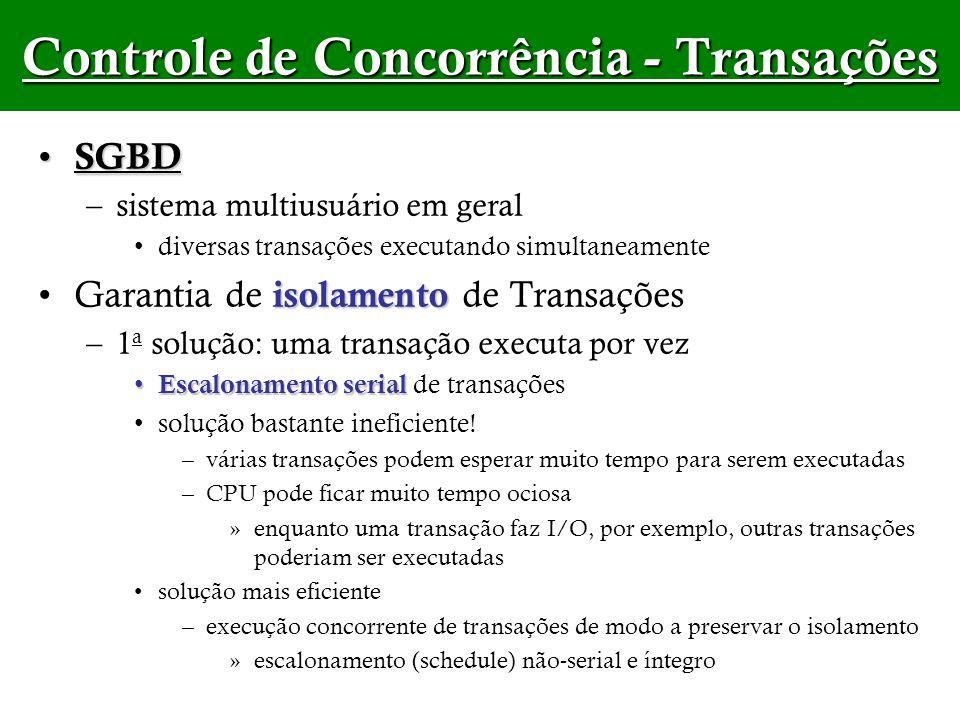Controle de Concorrência - Transações SGBD SGBD –sistema multiusuário em geral diversas transações executando simultaneamente isolamentoGarantia de is