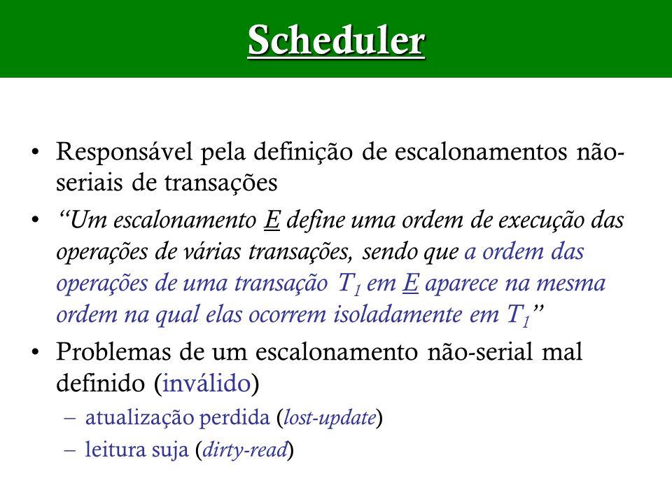 Responsável pela definição de escalonamentos não- seriais de transações Um escalonamento E define uma ordem de execução das operações de várias transa