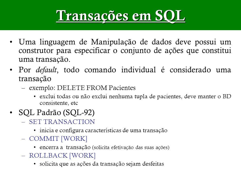 Transações em SQL Uma linguagem de Manipulação de dados deve possui um construtor para especificar o conjunto de ações que constitui uma transação. Po