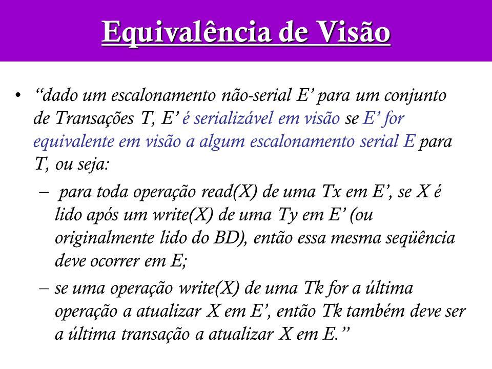 dado um escalonamento não-serial E para um conjunto de Transações T, E é serializável em visão se E for equivalente em visão a algum escalonamento ser