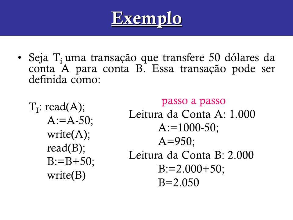 Exemplo Seja T i uma transação que transfere 50 dólares da conta A para conta B. Essa transação pode ser definida como: T I : read(A); A:=A-50; write(