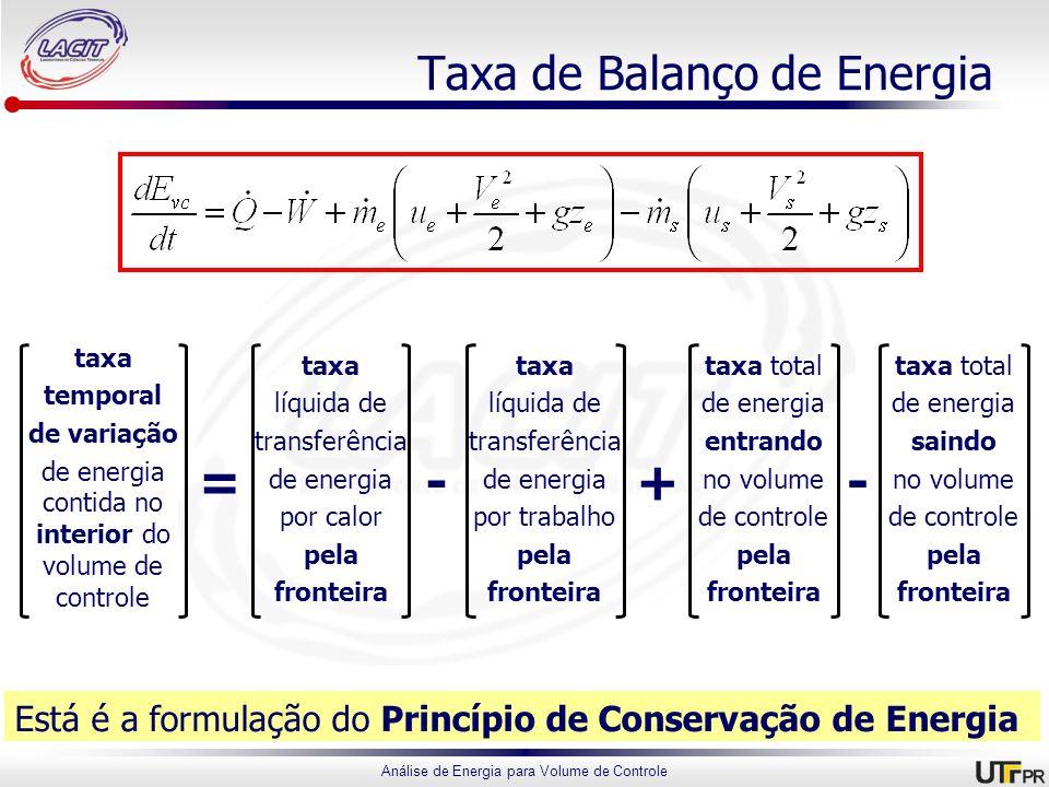 Análise de Energia para Volume de Controle Taxa de Balanço de Energia Está é a formulação do Princípio de Conservação de Energia taxa temporal de vari