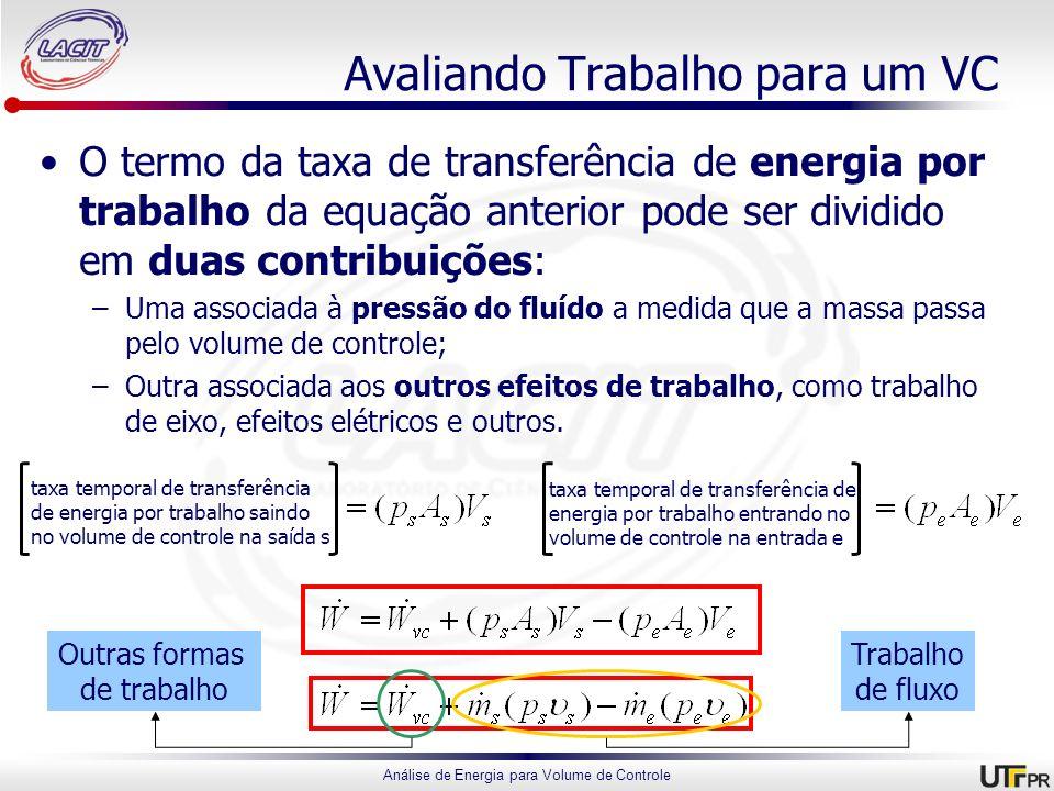 Análise de Energia para Volume de Controle Avaliando Trabalho para um VC O termo da taxa de transferência de energia por trabalho da equação anterior