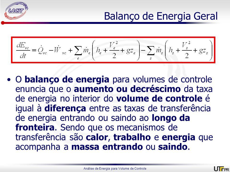 Análise de Energia para Volume de Controle Balanço de Energia Geral O balanço de energia para volumes de controle enuncia que o aumento ou decréscimo