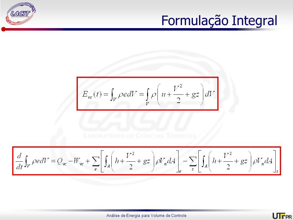 Análise de Energia para Volume de Controle Formulação Integral