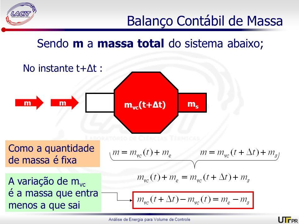 Análise de Energia para Volume de Controle Balanço Contábil de Massa Sendo m a massa total do sistema abaixo; No instante t : No instante t+Δt : meme
