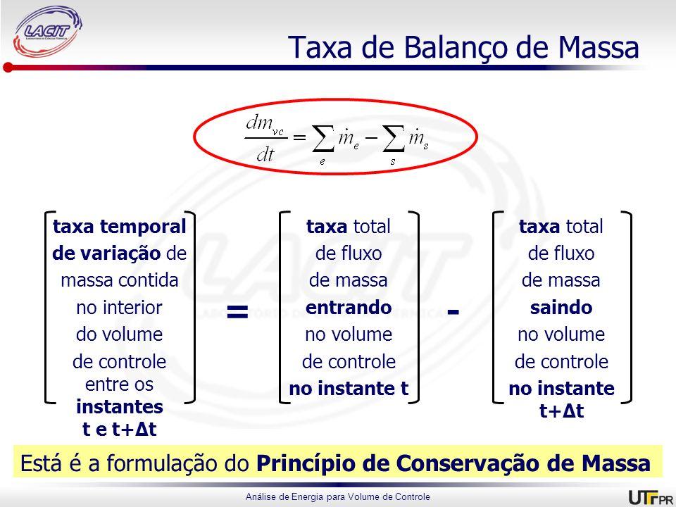 Análise de Energia para Volume de Controle Taxa de Balanço de Massa Está é a formulação do Princípio de Conservação de Massa taxa temporal de variação