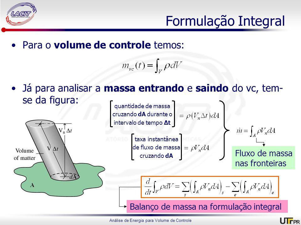 Análise de Energia para Volume de Controle Formulação Integral Para o volume de controle temos: Já para analisar a massa entrando e saindo do vc, tem-