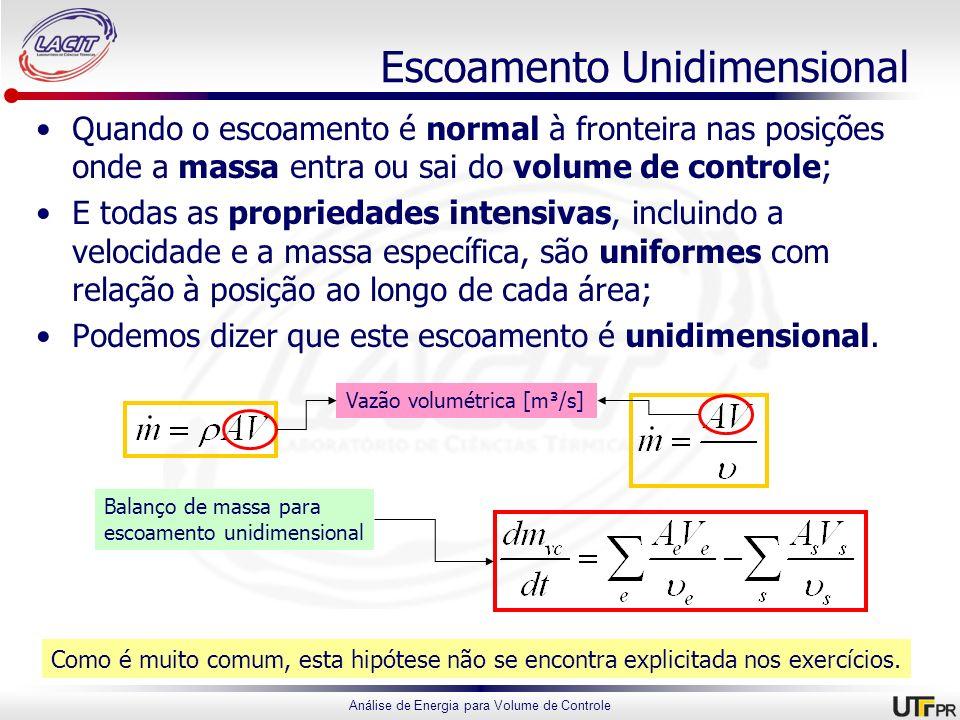 Análise de Energia para Volume de Controle Escoamento Unidimensional Quando o escoamento é normal à fronteira nas posições onde a massa entra ou sai d