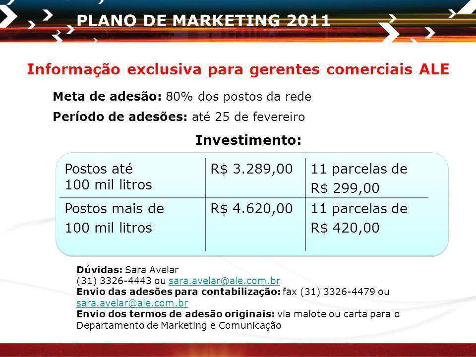 PLANO DE MARKETING 2011 Meta de adesão: 80% dos postos da rede Período de adesões: até 25 de fevereiro Postos até 100 mil litros R$ 3.289,0011 parcela