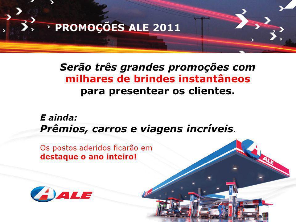PROMOÇÕES ALE 2011 Serão três grandes promoções com milhares de brindes instantâneos para presentear os clientes. E ainda: Prêmios, carros e viagens i
