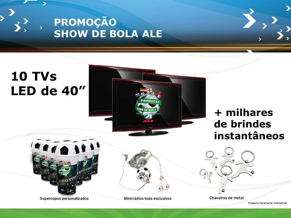 10 TVs LED de 40 + milhares de brindes instantâneos Imagens meramente ilustrativas. PROMOÇÃO SHOW DE BOLA ALE