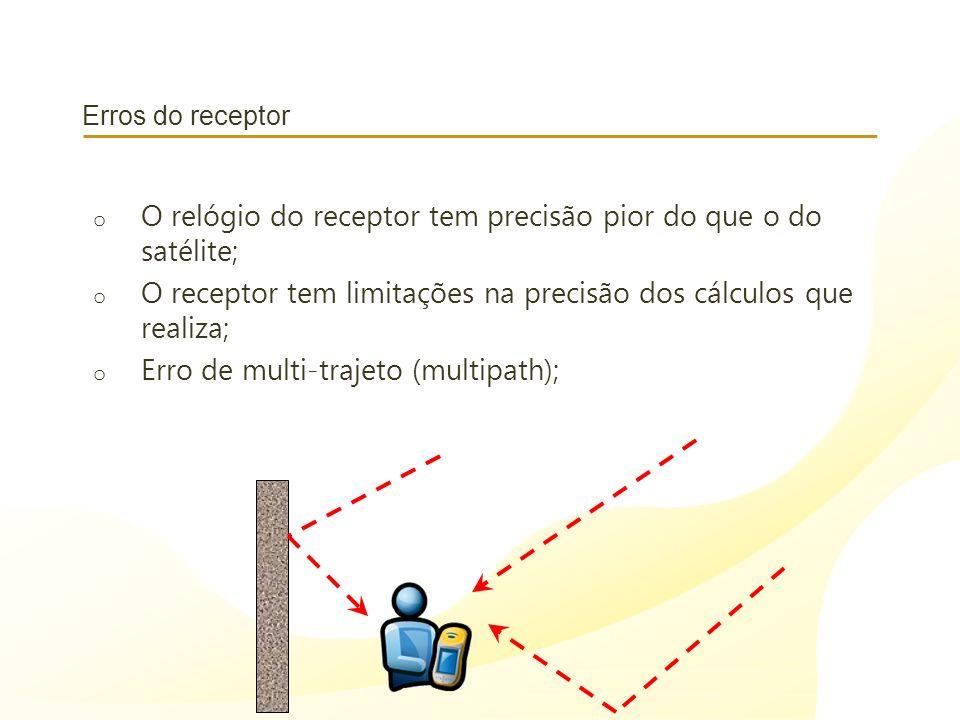 Erros do receptor o O relógio do receptor tem precisão pior do que o do satélite; o O receptor tem limitações na precisão dos cálculos que realiza; o