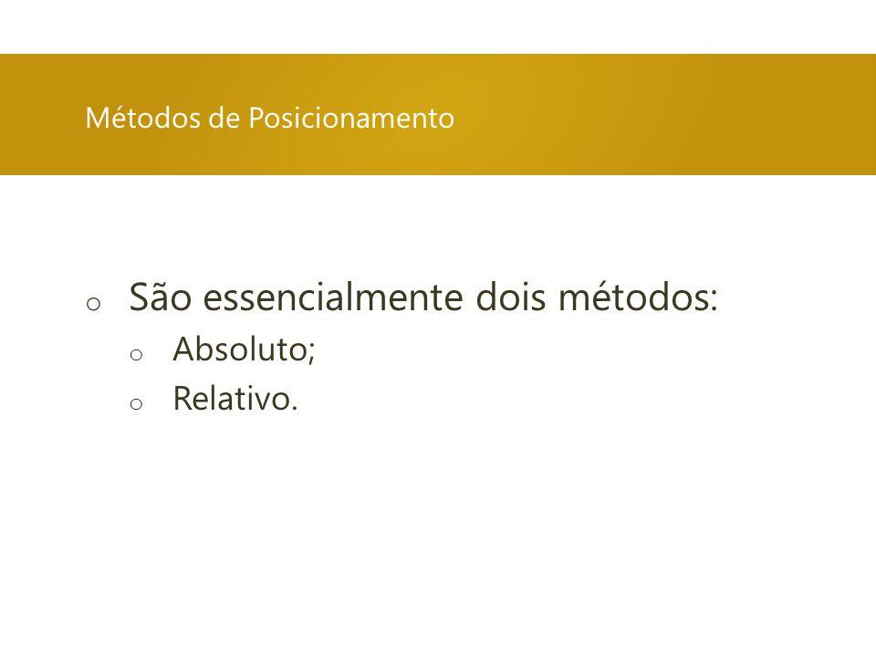 Métodos de Posicionamento o São essencialmente dois métodos: o Absoluto; o Relativo.