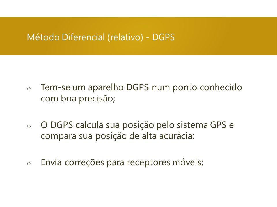Método Diferencial (relativo) - DGPS o Tem-se um aparelho DGPS num ponto conhecido com boa precisão; o O DGPS calcula sua posição pelo sistema GPS e c