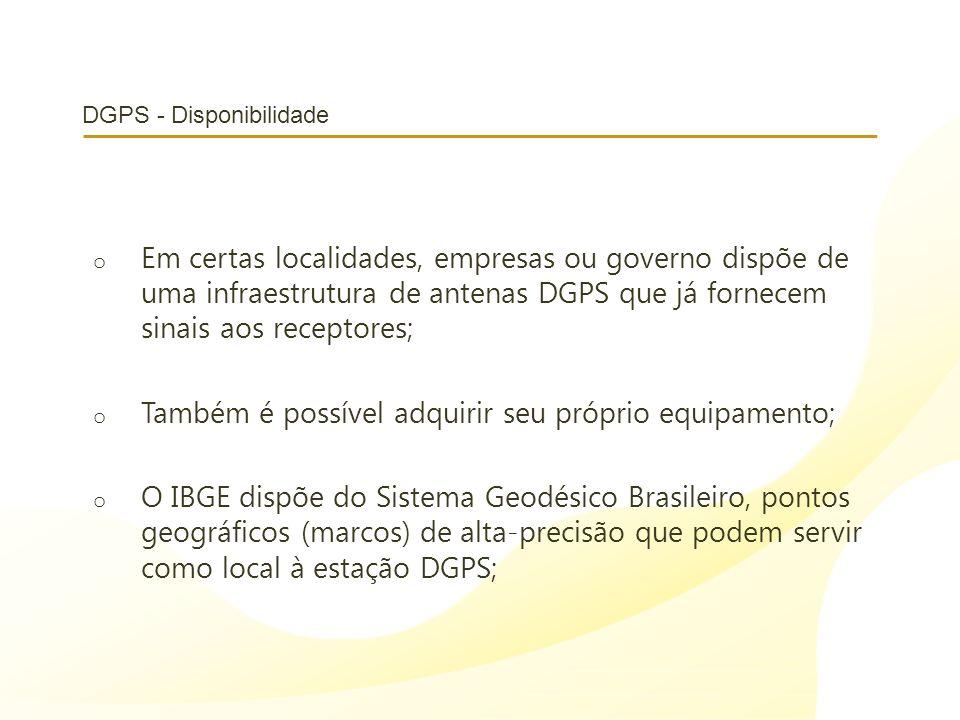 DGPS - Disponibilidade o Em certas localidades, empresas ou governo dispõe de uma infraestrutura de antenas DGPS que já fornecem sinais aos receptores