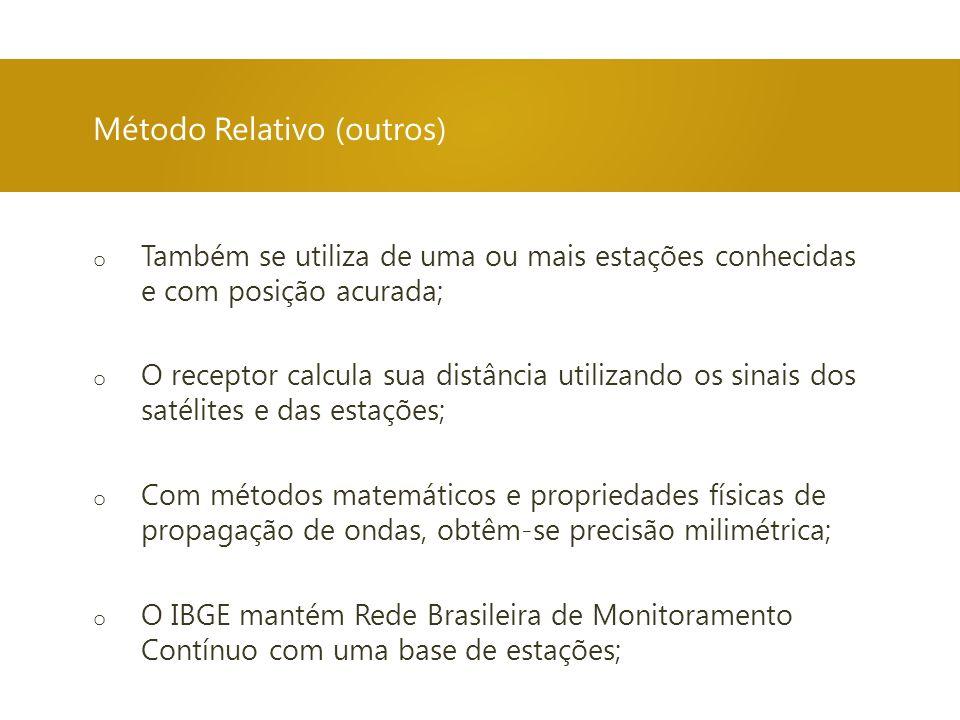 Método Relativo (outros) o Também se utiliza de uma ou mais estações conhecidas e com posição acurada; o O receptor calcula sua distância utilizando o