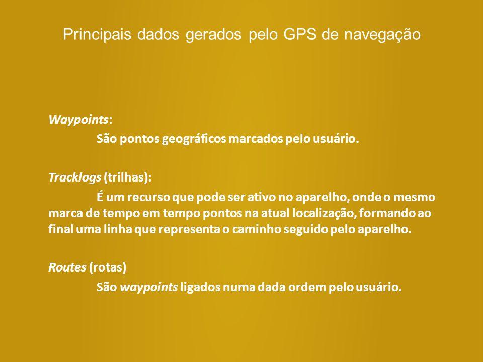 Principais dados gerados pelo GPS de navegação Waypoints: São pontos geográficos marcados pelo usuário. Tracklogs (trilhas): É um recurso que pode ser