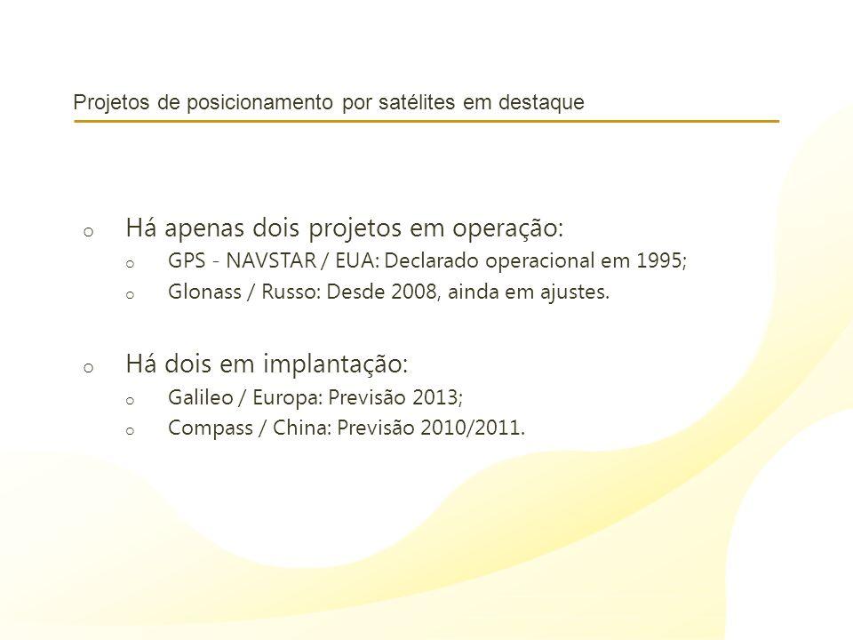 Projetos de posicionamento por satélites em destaque o Há apenas dois projetos em operação: o GPS - NAVSTAR / EUA: Declarado operacional em 1995; o Gl