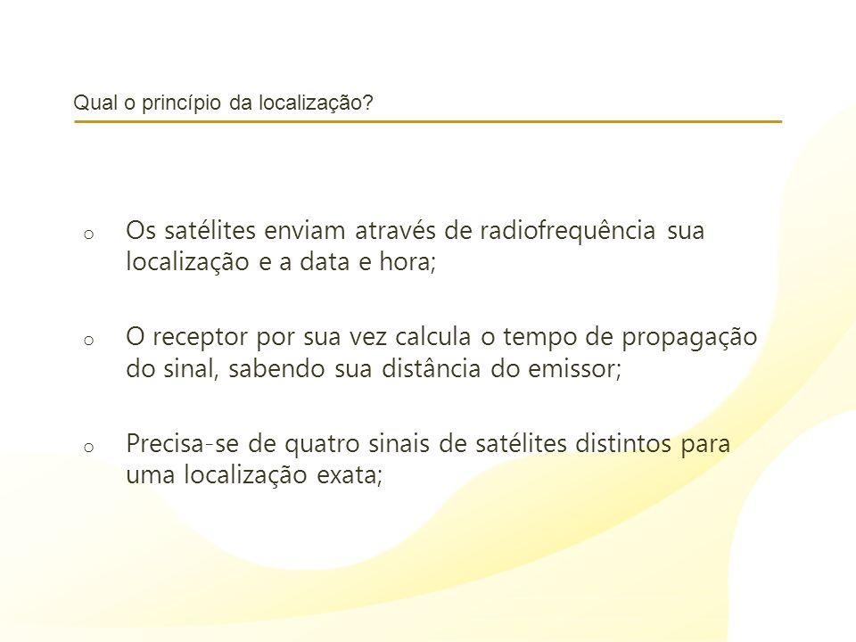 Qual o princípio da localização? o Os satélites enviam através de radiofrequência sua localização e a data e hora; o O receptor por sua vez calcula o