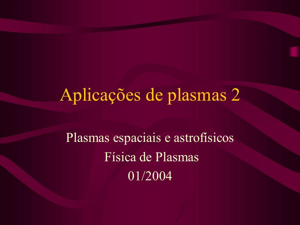 Aplicações de plasmas 2 Plasmas espaciais e astrofísicos Física de Plasmas 01/2004