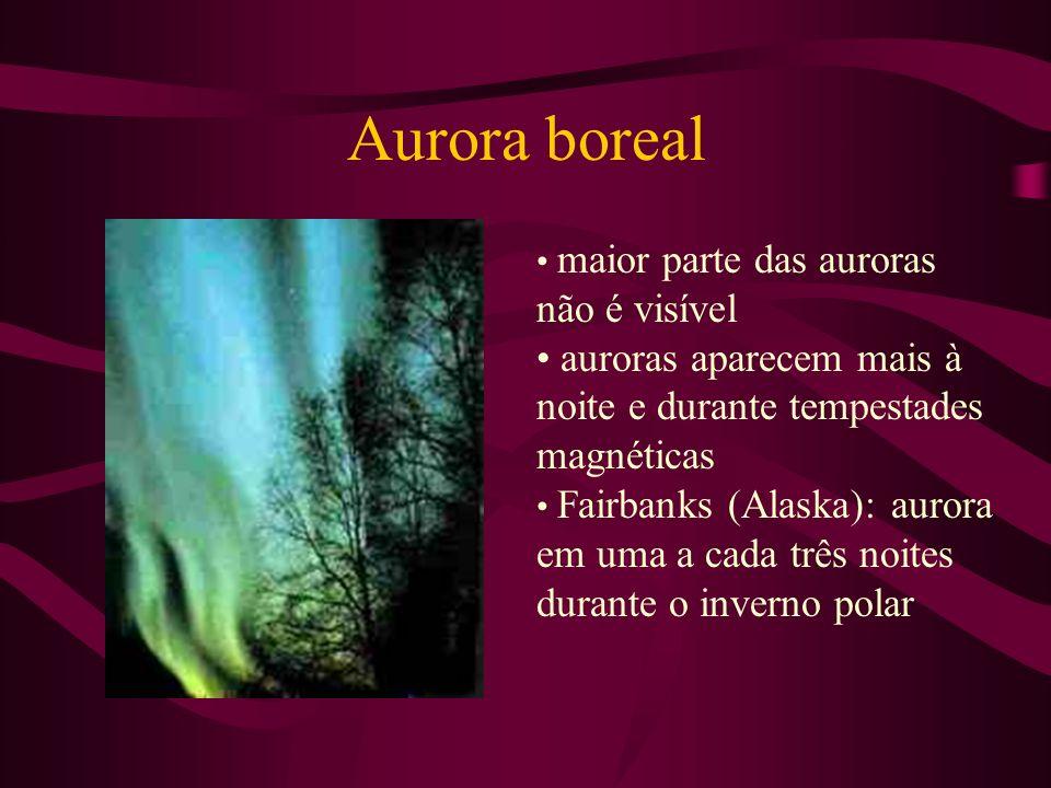 Aurora boreal maior parte das auroras não é visível auroras aparecem mais à noite e durante tempestades magnéticas Fairbanks (Alaska): aurora em uma a