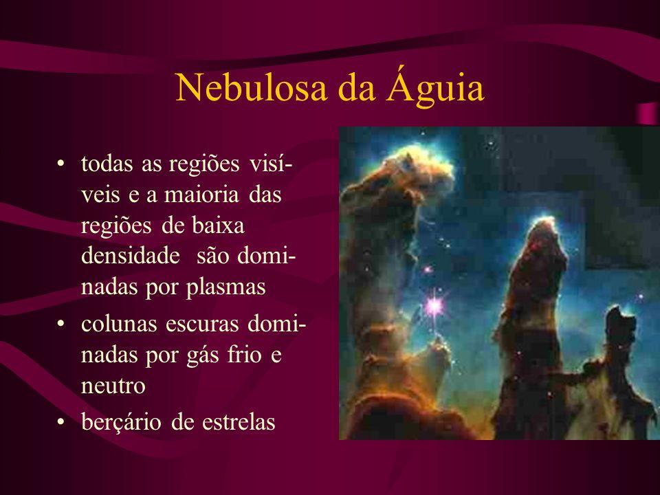 Nebulosa da Águia todas as regiões visí- veis e a maioria das regiões de baixa densidade são domi- nadas por plasmas colunas escuras domi- nadas por g