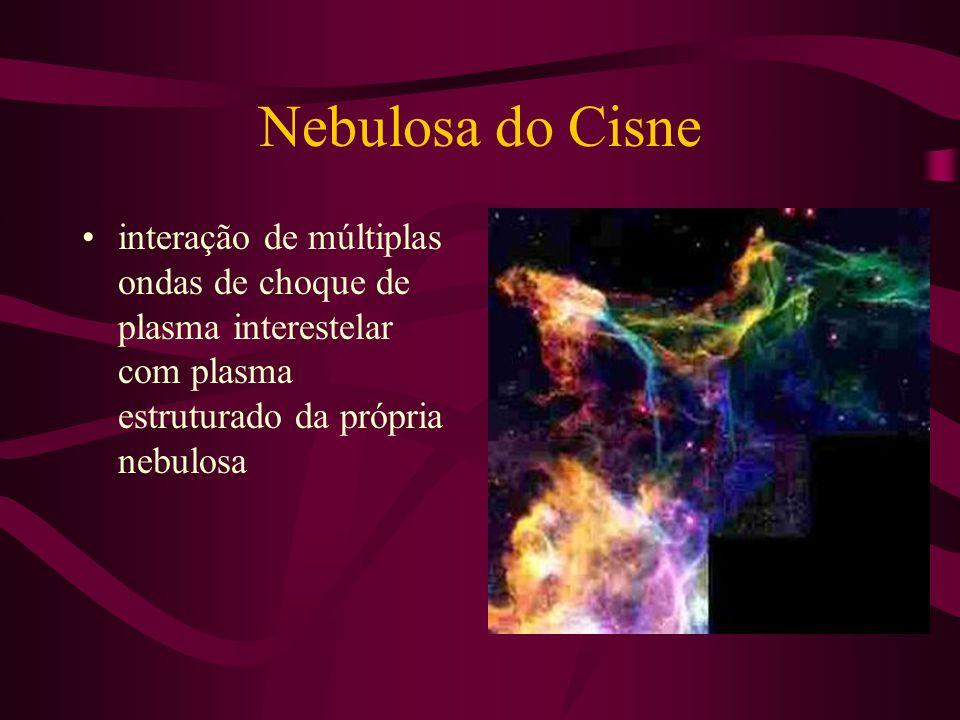 Nebulosa do Cisne interação de múltiplas ondas de choque de plasma interestelar com plasma estruturado da própria nebulosa